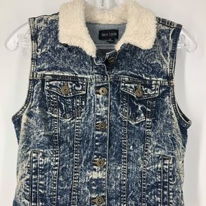 Acid Wash Vest with Soft Sherpa Collar